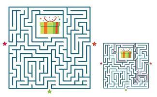 jogo labirinto de labirinto quadrado para crianças. enigma da lógica do labirinto. vetor
