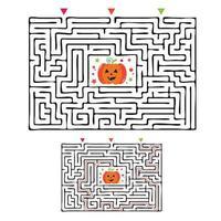 jogo labirinto de labirinto retangular de halloween para crianças. lógica do labirinto vetor