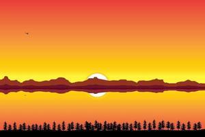pôr do sol no rio e nas montanhas vetor