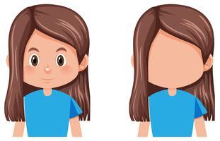 Um personagem de menina morena cabelo comprido vetor