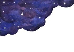 fundo do céu à noite em aquarela com estrelas. vetor