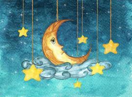 lua amarela e estrelas penduradas em cordas. ilustração em aquarela. vetor