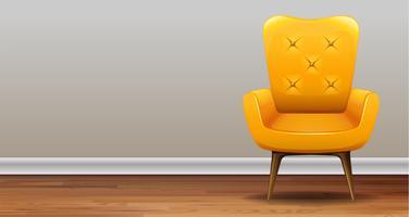 Uma poltrona amarela clássica vetor
