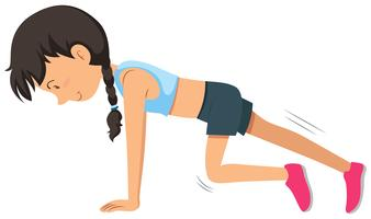 Um, mulher jovem, peso, treinamento, exercício vetor