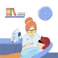 dentista no escritório trata os dentes de um jovem vetor