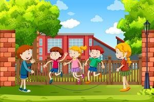 Crianças, tocando, exterior, cena vetor