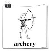Doodle de homem fazendo tiro com arco vetor