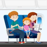 Família no avião vetor