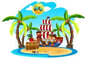 Um pirata com crianças na ilha vetor