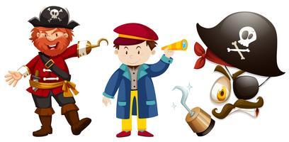 Personagens de pirata em fundo branco vetor