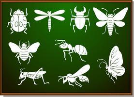 Conjunto de silhueta de muitos bugs vetor