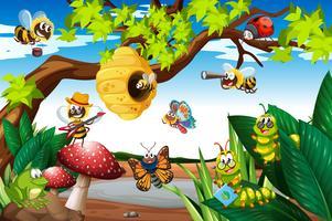 Abelhas voando ao redor da árvore