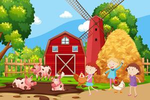 Crianças, tocando, em, a, terra cultivada vetor