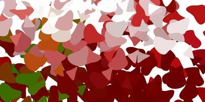 modelo de vetor verde e vermelho claro com formas abstratas.