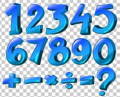 Números e símbolos matemáticos na cor azul vetor