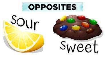 Palavras opostas com azedo e doce