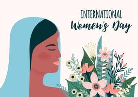 Dia Internacional da Mulher. Modelo de vetor com mulher indiana e flores