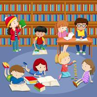 Muitas crianças lendo livros na biblioteca vetor