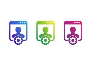 ícones de configurações de conta em branco vetor