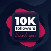 10 mil seguidores, banner de saudação para web vetor