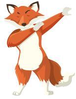 Uma raposa dab no fundo branco vetor