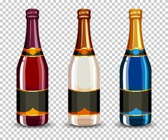 Conjunto de garrafa de champanhe vetor
