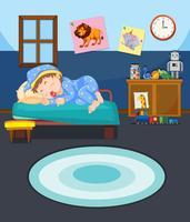 Jovem, menino, dormir, cena vetor
