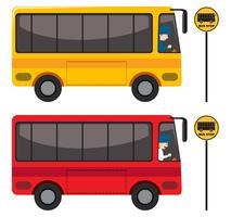 Um conjunto de ônibus vermelho e amarelo vetor