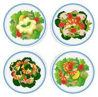 Quatro tipos de salada no prato redondo vetor
