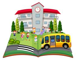Um livro pop-up com crianças na escola vetor