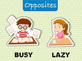 Palavras opostas para ocupado e preguiçoso vetor