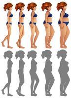 Um conjunto de corpo lateral de mulher e silhueta vetor
