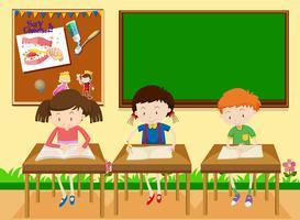 Alunos estudando em sala de aula vetor