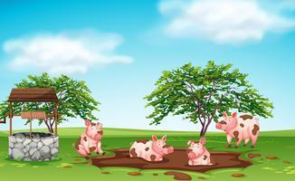Escolha feliz jogando na lama vetor