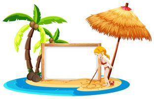 Um banner de praia em branco com garota de biquíni
