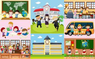 Cenas diferentes na escola com os alunos vetor