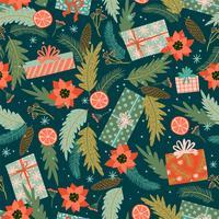 Natal e feliz ano novo sem costura padrão. vetor