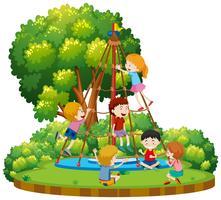 Crianças, escalando, ao ar livre, corda, equipamento vetor