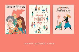 Feliz Dia das Mães. Modelos de vetor para cartão, cartaz, banner e outro uso.