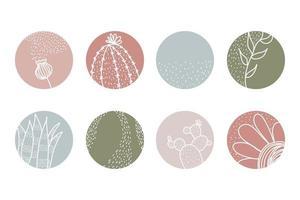 destaque conjunto de capa, ícones botânicos florais abstratos para mídia social. vetor