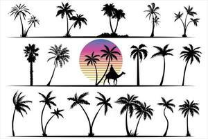 coleção de palmeiras e conjunto de vetores de silhuetas de palmas