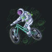 astronauta brincando de bicicleta na ilustração do céu vetor