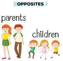 Palavras opostas com pais e filhos