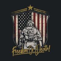 ilustração do emblema do escudo do soldado americano vetor
