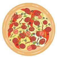 ilustração vetorial de pizza deliciosa vetor