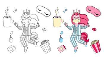 ilustração em vetor de um unicórnio com o tema de um pijama