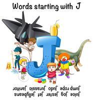 Design de cartaz para palavras que começam com J vetor