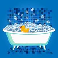 ilustração vetorial de hora do banho com banheira e pato de borracha amarelo. vetor