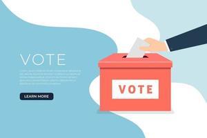 mão de empresário colocando o papel de voto nas urnas. vetor