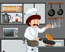 Um cozinheiro chefe que cozinha a panqueca na cozinha vetor